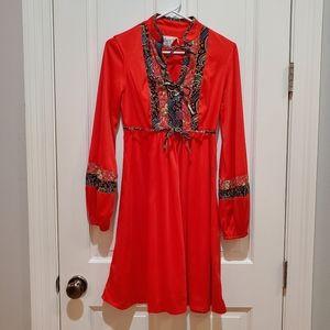 Vintage Boho Long Sleeve Midi Dress